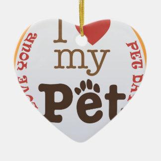 Ornamento De Cerâmica Ame seu dia do animal de estimação - dia da