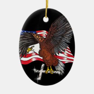 Ornamento De Cerâmica Americano Eagle com cruz