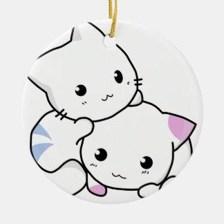 Ornamento De Cerâmica Amigos bonitos do gato