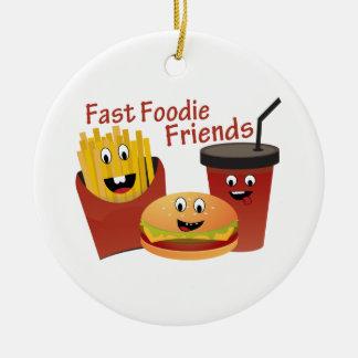 Ornamento De Cerâmica Amigos rápidos de sorriso de Foodie