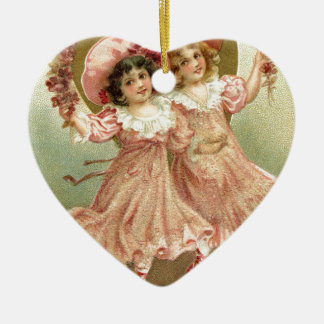 Ornamento De Cerâmica Amizade cor-de-rosa do dia dos namorados do