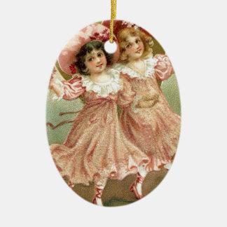 Ornamento De Cerâmica Amizade do dia dos namorados do vintage