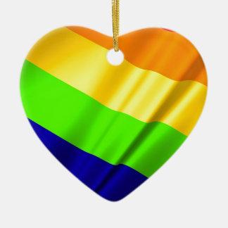 Ornamento De Cerâmica Amor alegre da lésbica do arco-íris do orgulho do