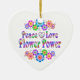 Ornamento De Cerâmica Amor bonito flower power da paz