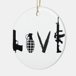 Ornamento De Cerâmica Amor com armas