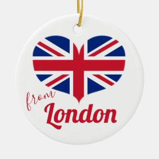 Ornamento De Cerâmica Amor da bandeira BRITÂNICA dada forma coração