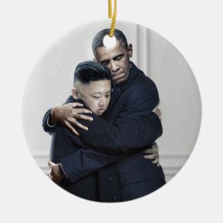 Ornamento De Cerâmica Amor da Coreia do Norte do Un de Obama Kim Jong