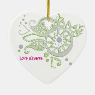 Ornamento De Cerâmica Amor da flor do Henna que tira sempre