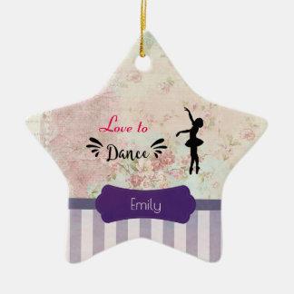 Ornamento De Cerâmica Amor da silhueta da bailarina a dançar