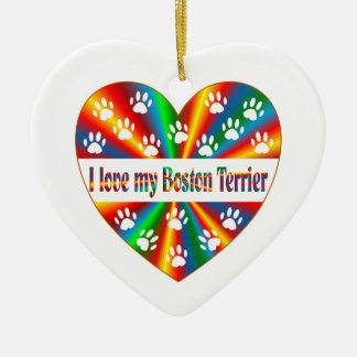 Ornamento De Cerâmica Amor de Boston Terrier