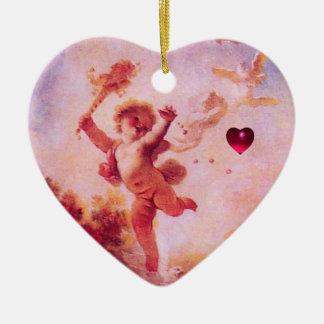 Ornamento De Cerâmica AMOR do BOBO DA CORTE, rubi do rosa do MONOGRAMA