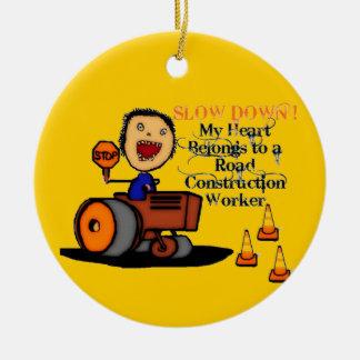 Ornamento De Cerâmica Amor do trabalhador de construção de estradas