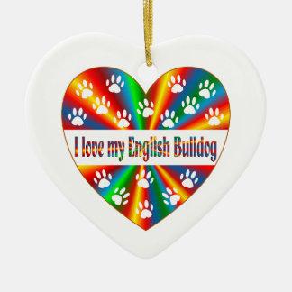Ornamento De Cerâmica Amor inglês do buldogue