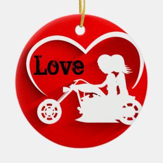 Ornamento De Cerâmica AMOR personalizado da motocicleta da equitação do