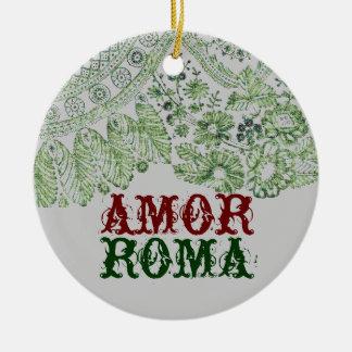 Ornamento De Cerâmica Amor Roma com laço verde