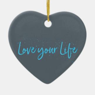 Ornamento De Cerâmica Amor-seu-Vida-Tipografia-azul