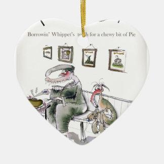 Ornamento De Cerâmica amor yorkshire que pede os dentes dos whippets