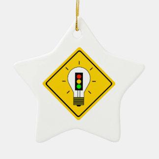 Ornamento De Cerâmica Ampola do sinal de trânsito adiante