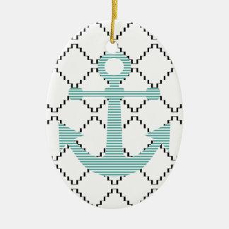 Ornamento De Cerâmica Âncora - tiras - azul e branco