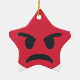 Ornamento De Cerâmica Angry Emoji