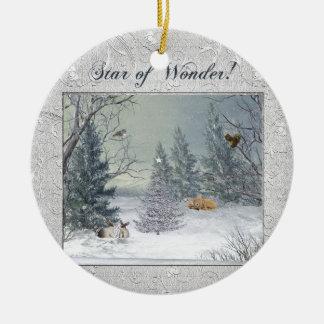 Ornamento De Cerâmica Animais na floresta do inverno, árvore com