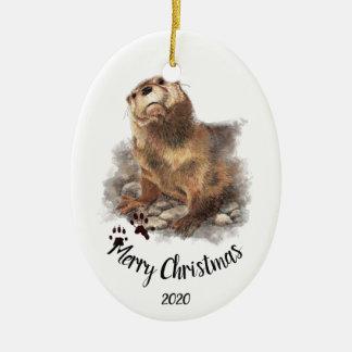 Ornamento De Cerâmica Animal datado feito sob encomenda da lontra da