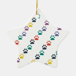 Ornamento De Cerâmica Animal doméstico colorido das patas & do arco-íris