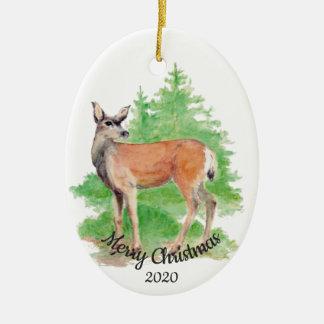 Ornamento De Cerâmica Animal feito sob encomenda dos cervos da aguarela