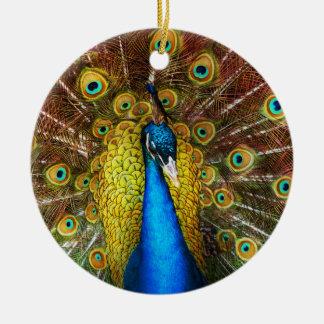 Ornamento De Cerâmica Animal - pássaro - pavão orgulhoso
