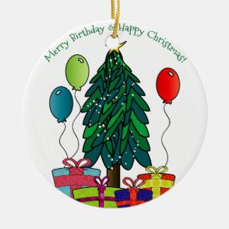 Ornamento De Cerâmica Aniversário alegre, Natal feliz!