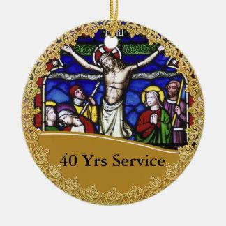 Ornamento De Cerâmica Aniversário da classificação 40th do padre