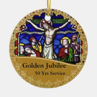 Ornamento De Cerâmica Aniversário da classificação 50th do padre