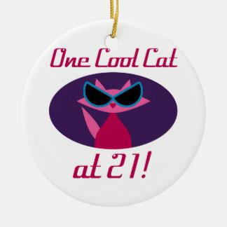 Ornamento De Cerâmica Aniversário de 21 anos legal do gato