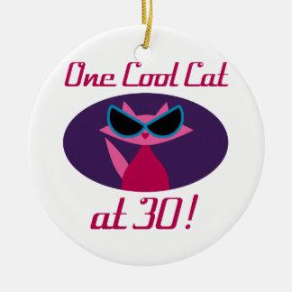 Ornamento De Cerâmica Aniversário de 30 anos legal do gato