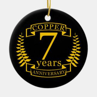 Ornamento De Cerâmica Aniversário de casamento de cobre 7 anos