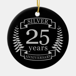 Ornamento De Cerâmica Aniversário de casamento de prata 25 anos