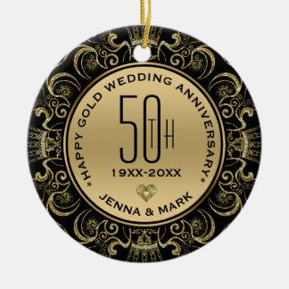 Ornamento De Cerâmica Aniversário de casamento do quadro 50th do brilho