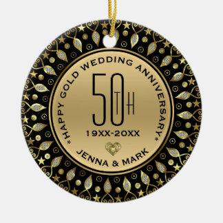 Ornamento De Cerâmica Aniversário de casamento do quadro 50th do círculo