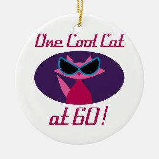 Ornamento De Cerâmica Aniversário do gato legal 60th