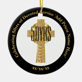 Ornamento De Cerâmica Aniversário dourado da classificação do jubileu