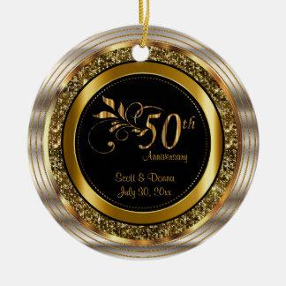Ornamento De Cerâmica Aniversário dourado do costume 50th