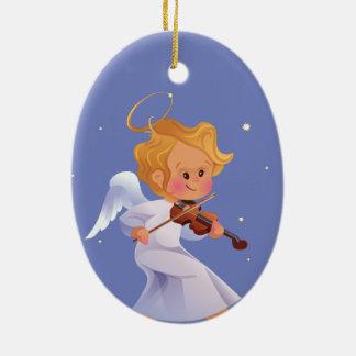 Ornamento De Cerâmica Anjo bonito que joga o violino