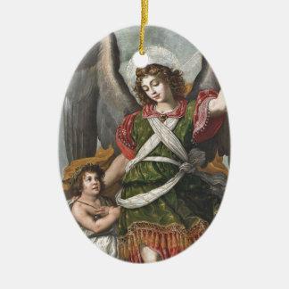 Ornamento De Cerâmica Anjo-da-guarda espanhol e criança