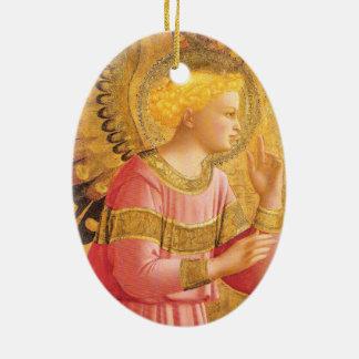 Ornamento De Cerâmica ANJO do AVISO no Natal do ROSA do OURO