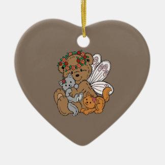Ornamento De Cerâmica Anjo do urso com gatinhos