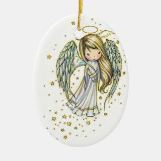 Ornamento De Cerâmica Anjo pequeno bonito na arte da fantasia das