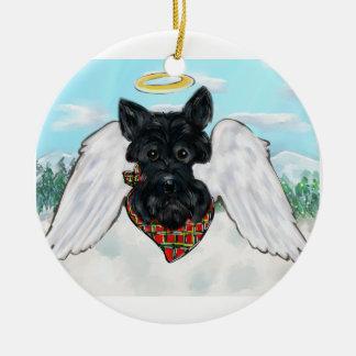 Ornamento De Cerâmica Anjo preto de Terrier do Scottish