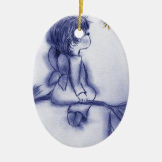 Ornamento De Cerâmica Anjo que deseja em uma estrela - matiz azul