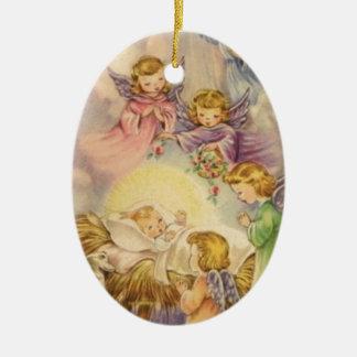 Ornamento De Cerâmica Anjos do vintage em torno do bebê Jesus