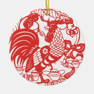 Ornamento De Cerâmica Ano 2017 do galo de Papercut do chinês